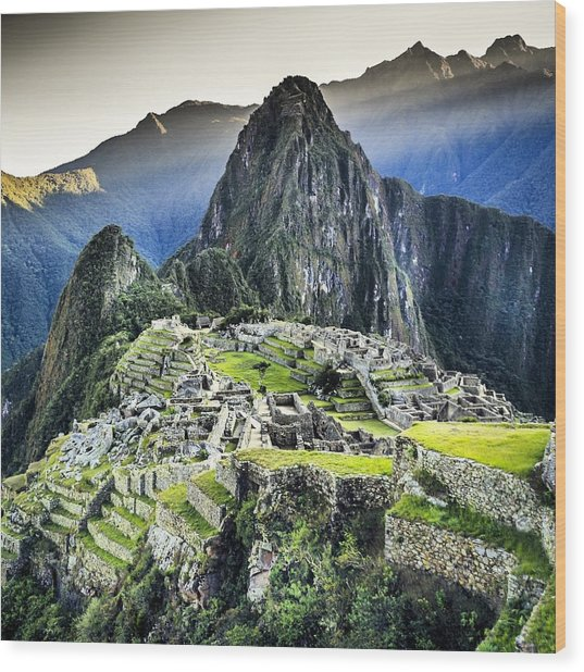 High Angle View Of Machu Picchu Against Wood Print by Diego Cambiaso / Eyeem