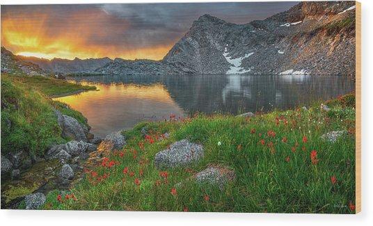 High Mountain Morning In Idaho Wood Print by Leland D Howard
