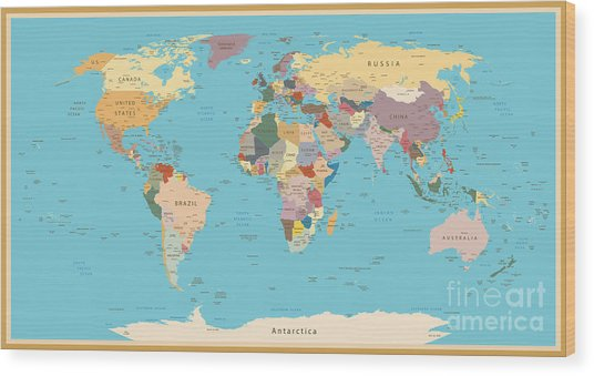 Highly Detailed World Map With Vintage Wood Print