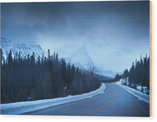 Highway Through The Canadian Rockies Wood Print by Kjell Linder