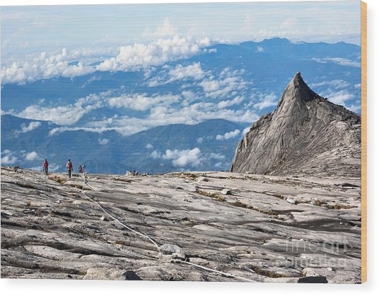 Hikers At The Top Of Mount Kinabalu In Wood Print