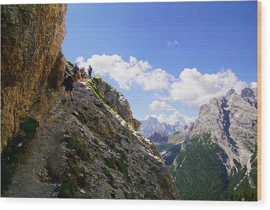 Hikers On Steep Trail Up Monte Piana Wood Print