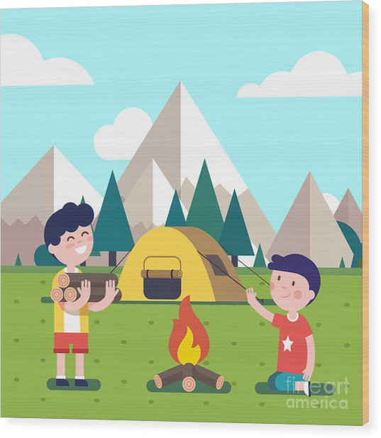 Hiking Kids At The Campfire Near Their Wood Print