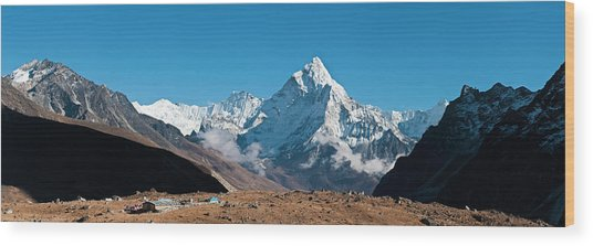 Himalaya Snow Summits Remote Mountain Wood Print by Fotovoyager