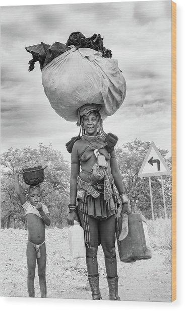 Himba Both Carrying  Wood Print