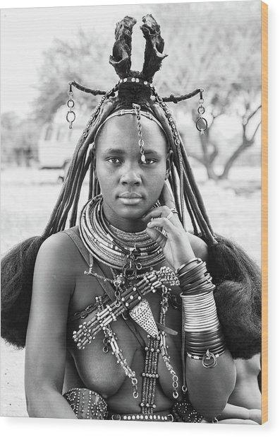 Himba Style Girl Wood Print