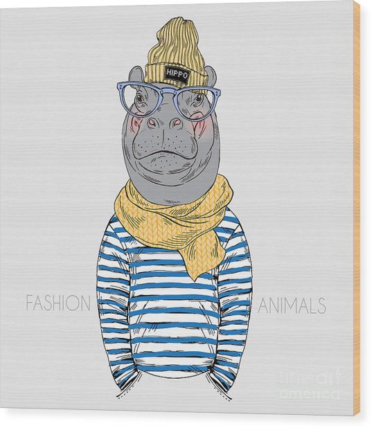 Hippo Hipster Dressed Up In Frock And Wood Print