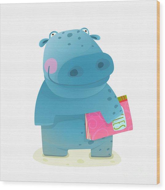 Hippopotamus Kid With Book Study Wood Print