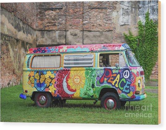 Hippie Dippie Vw Micro Bus Wood Print