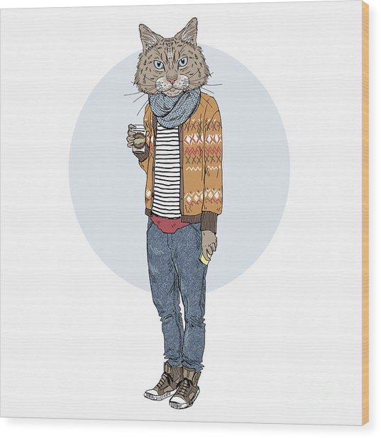 Hipster Cat With Coffee, Furry Art Wood Print