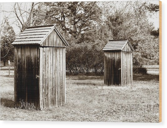 His And Hers Vintage Outhouses Pine Barrens Wood Print