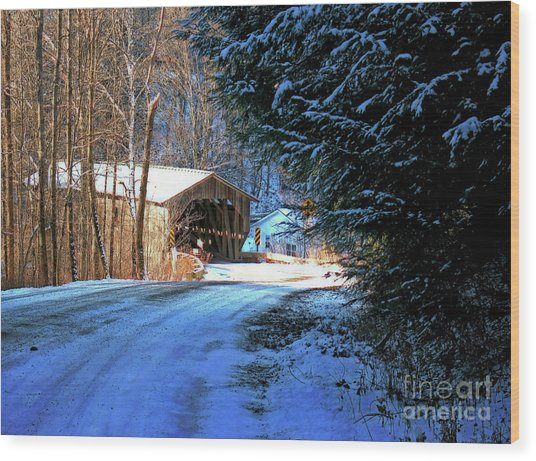 Wood Print featuring the photograph Historic Grist Mill Covered Bridge by Patti Whitten