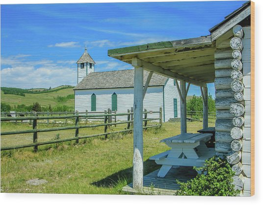Historic Mcdougall Church, Morley, Alberta, Canada Wood Print
