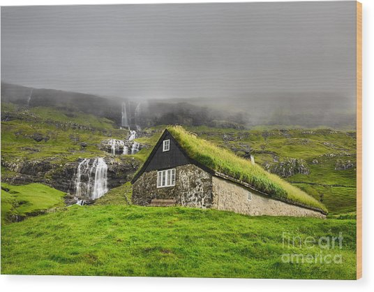 Historic Stone House With Turf Roof On Wood Print