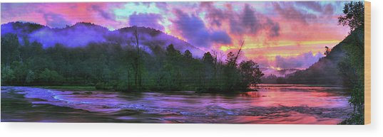 Hiwassee River Sunset Pano Wood Print