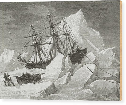 H.m.s. Intrepid Wood Print by Hulton Archive
