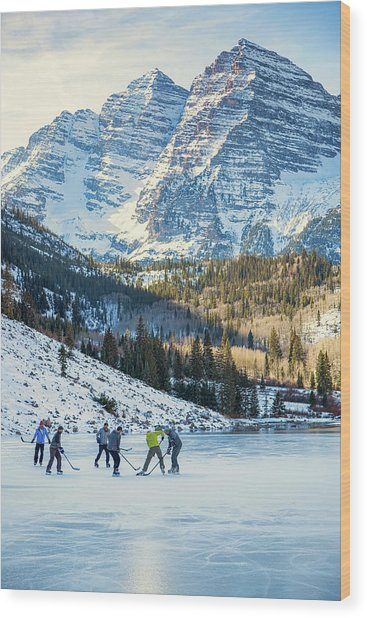 Wood Print featuring the photograph Hockey On Maroon Lake Maroon Bells Aspen Colorado by Nathan Bush