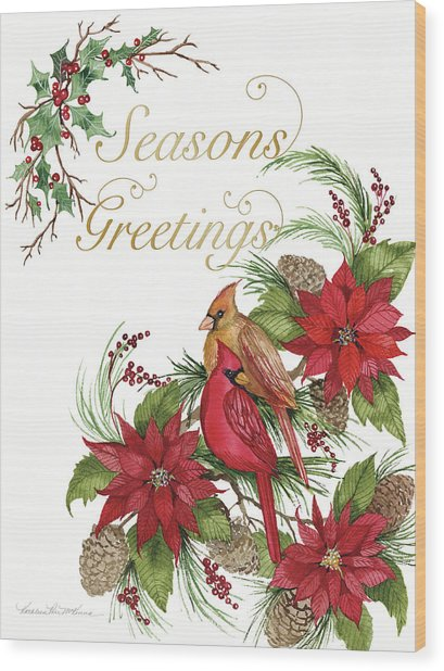 Holiday Happiness Vi Greetings Wood Print by Kathleen Parr Mckenna