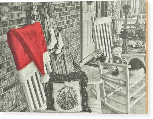 Holiday Porch Wood Print by JAMART Photography