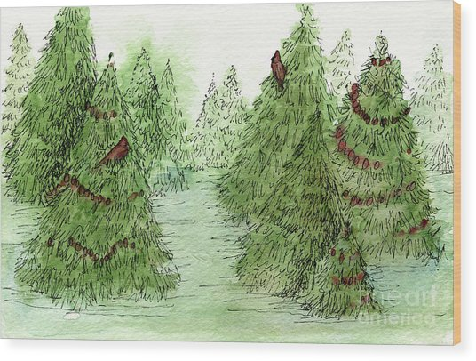 Holiday Trees Woodland Landscape Illustration Wood Print