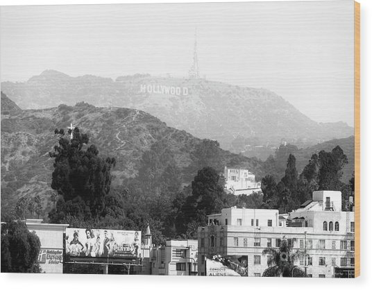 Hollywood Sign Black And White Wood Print