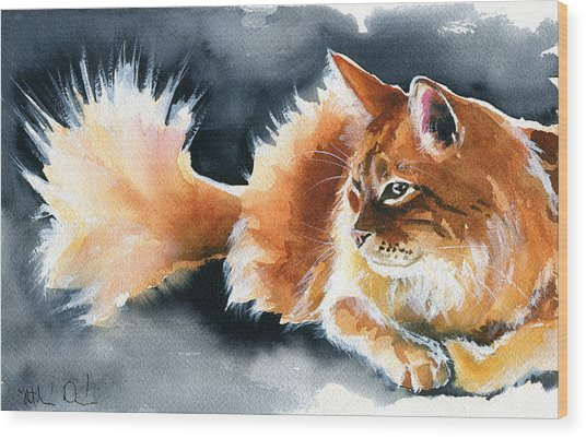 Holy Ginger Fluff - Cat Painting Wood Print