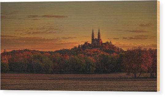 Holy Hill Sunrise Panorama Wood Print