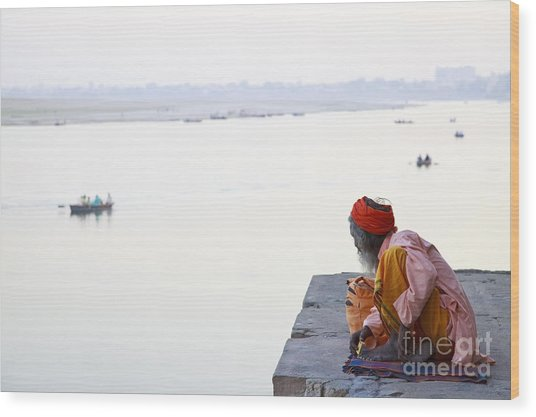 Holy Indian Sadhu At The Ghats In Wood Print