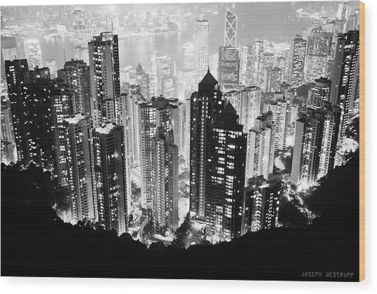Hong Kong Nightscape Wood Print