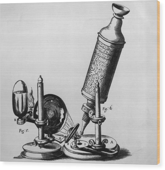 Hookes Microscope Wood Print by Hulton Archive