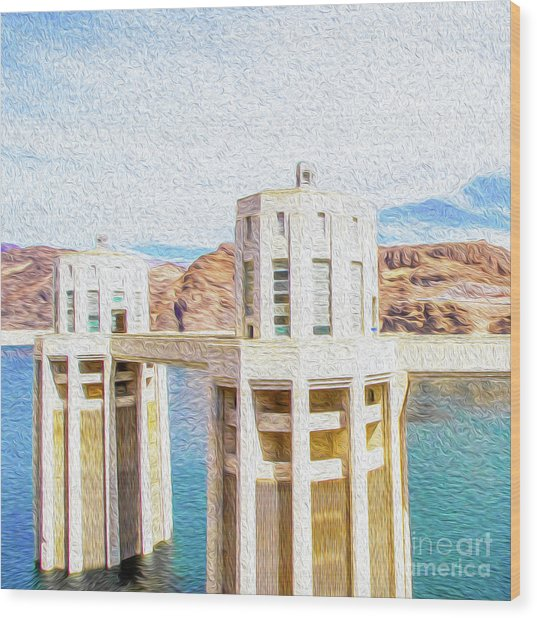 Wood Print featuring the digital art Hoover Dam Rendition I by Kenneth Montgomery