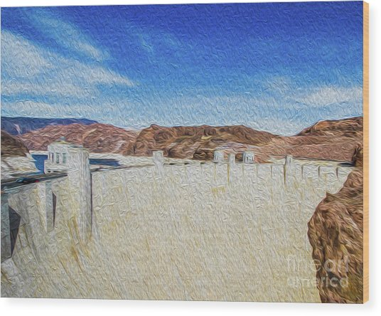 Wood Print featuring the digital art Hoover Dam Rendition II by Kenneth Montgomery