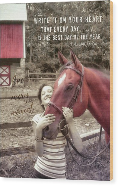 Horse Crazy Quote Wood Print by JAMART Photography