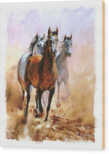 Horse Equestrian Passion Oil Painting Wood Print