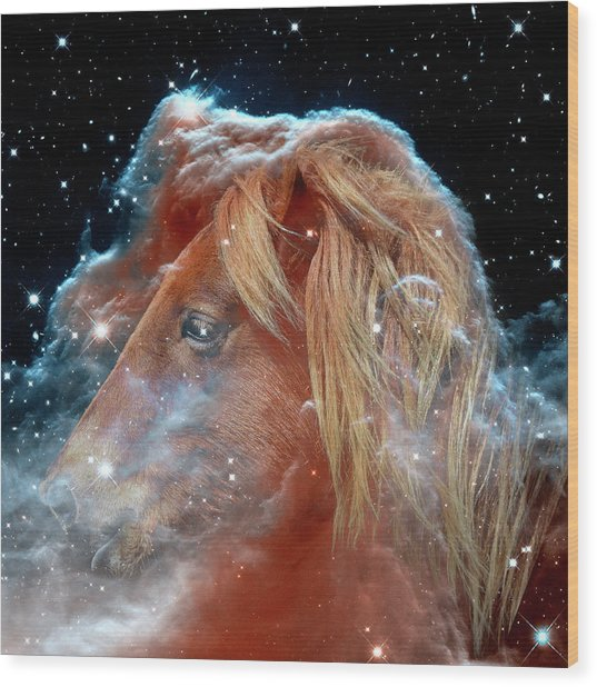 Wood Print featuring the photograph Horsehead Nebula With Horse Head Outer Space Image by Bill Swartwout Fine Art Photography