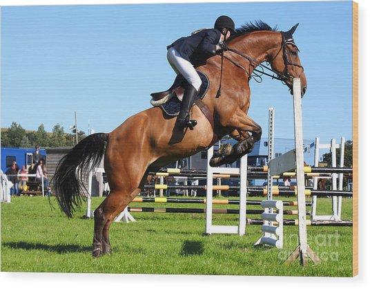 Horses Races Wood Print