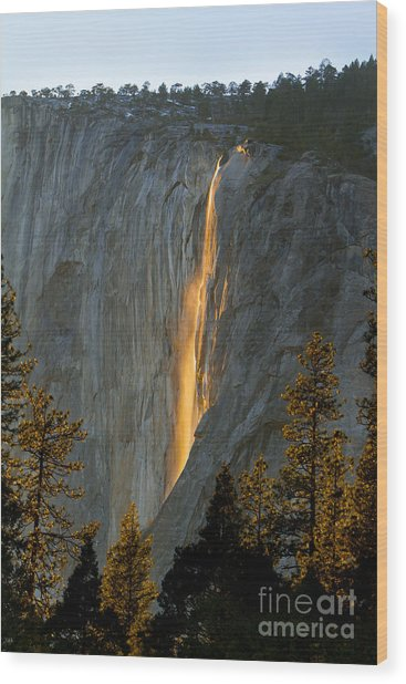 Horsetail Falls In Yosemite Illuminated Wood Print by Peggy Sells