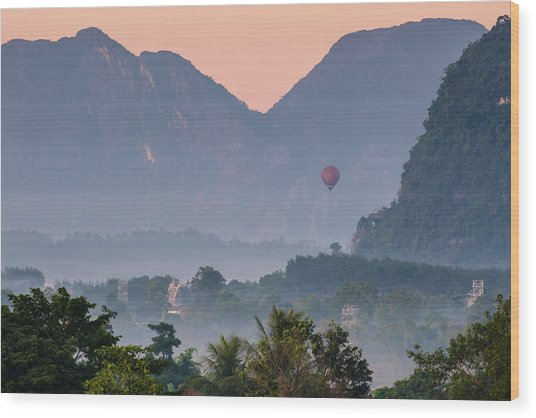 Wood Print featuring the photograph Hot Air Ballon In Laos by Nicole Young