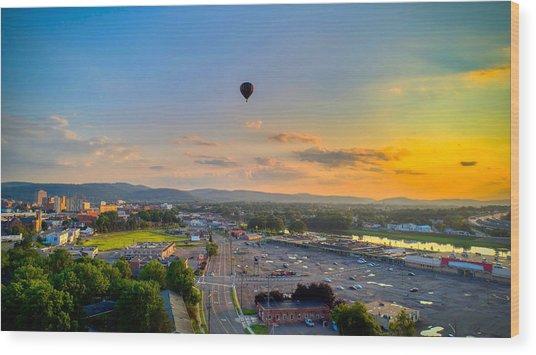 Hot Air Ballon Sunset Wood Print