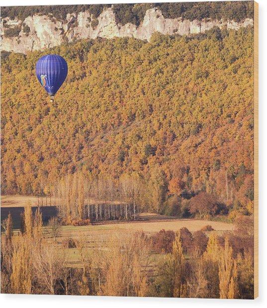 Hot Air Balloon, Beynac, France Wood Print