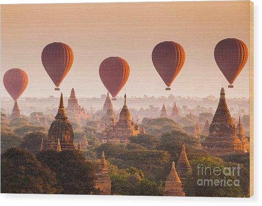 Hot Air Balloon Over Plain Of Bagan At Wood Print