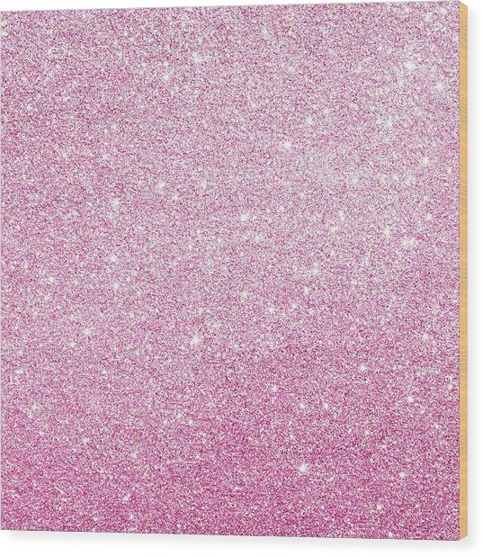 Hot Pink Glitter Wood Print