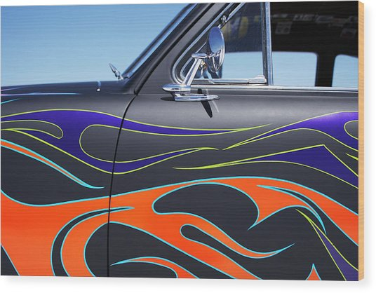 Hot Rod Car With Colorful Flame Design Wood Print by Nash Photos