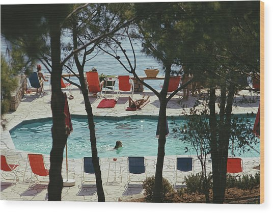 Hotel Il Pellicano Wood Print by Slim Aarons