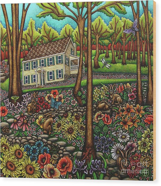 House In The Meadow  Wood Print