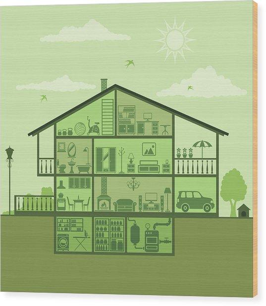 House Interior Wood Print by Alonzodesign
