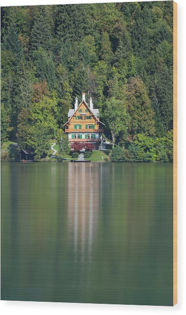 Wood Print featuring the photograph House On The Lake by Davor Zerjav