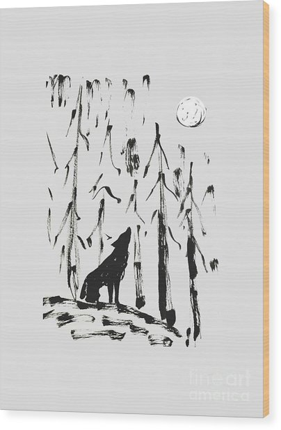 Wood Print featuring the painting Howl #2 by Maria Langgle