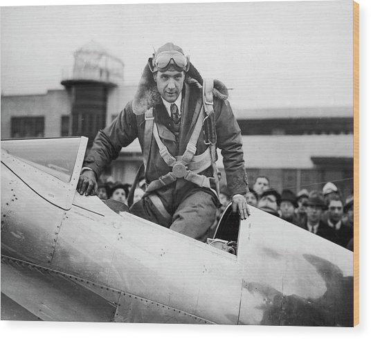 Hughes Boards His Plane Wood Print