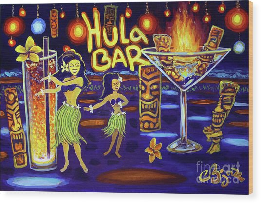 Hula Bar Wood Print